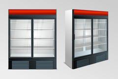 Refrigerator showcase kitchen. Fridge with transparent glass isolated. Refrigerator showcase on white background. Vector Royalty Free Stock Photo