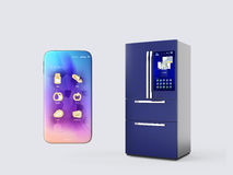 Refrigerator and smartphone isolated on gray background royalty free illustration