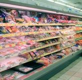 Refrigerator in supermarket Stock Image