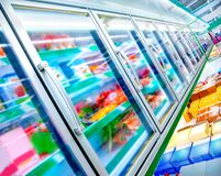 Refrigerator in the supermarket Stock Photos