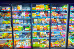 Refrigerator in the supermarket Royalty Free Stock Photo
