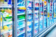 Refrigerator in the supermarket. View of refrigerator in the supermarket Royalty Free Stock Images