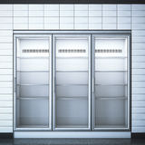 Refrigerator with three doors in the store. 3d rendering Stock Photography
