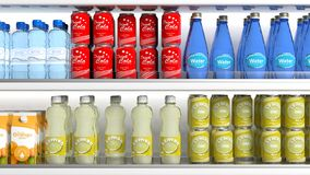 Refrigerator with various products. 3d illustration Royalty Free Stock Images