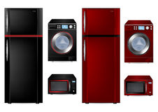 Refrigerator, Washing Machine and Microwave Stock Images