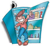 Refrigerator02. Man in a refrigerator stock illustration