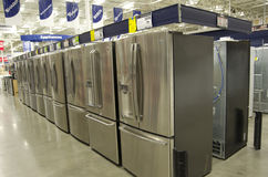 Refrigerators appliance at Lowes Royalty Free Stock Images