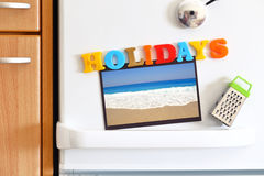 Refrigerators door with colorful text Royalty Free Stock Photography
