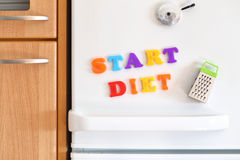 Refrigerators door with colorful text Royalty Free Stock Image