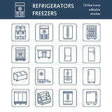 Refrigerators flat line icons. Fridge types, freezer, wine cooler, commercial major appliance, refrigerated display case Stock Image