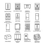 Refrigerators flat line icons. Fridge types, freezer, wine cooler, commercial major appliance, refrigerated display case Royalty Free Stock Photos