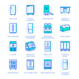 Refrigerators flat line icons. Fridge types, freezer, wine cooler, commercial major appliance, refrigerated display case Royalty Free Stock Image