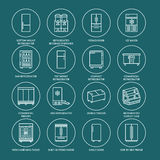 Refrigerators flat line icons. Fridge types, freezer, wine cooler, commercial major appliance, refrigerated display case Stock Images