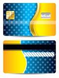 Refrigere o cartão de crédito azul e alaranjado Fotos de Stock Royalty Free
