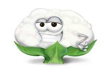 Refrigere o personagem de banda desenhada branco da couve-flor com os olhos manhosos entreabertos, sorrindo ilustração royalty free