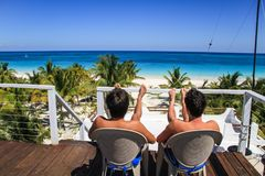 Refroidissant sur le dessus de toit du Blanca de maison, Rancho Pedro Paila, ` de Sian Ka une réservation, Quintana Roo, Mexique image libre de droits