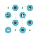 Refroidisseur plat d'icônes, Datacenter, routeur et d'autres éléments de vecteur L'ensemble de symboles plats d'icônes d'ordinate illustration libre de droits