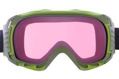 Refroidissez, façonnez, et les lunettes vertes fonctionnelles de ski Photographie stock