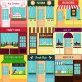 Refroidissez l'ensemble de restaurants plats détaillés de conception et faites des emplettes des icônes de façade Images libres de droits