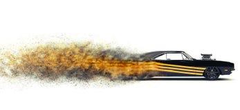 Refroidissez la voiture noire de muscle de vintage avec le décalque jaune - particule FX illustration libre de droits