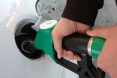 Refuel your car in close-up royalty free stock photography