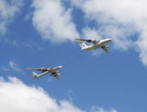 Refueling aircraft and bomber participate at last rehearsal of the parade dedicated to 70th anniversary of the victory in the Seco Royalty Free Stock Photos