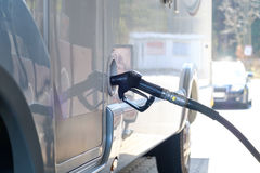 Refueling in bus. stock images