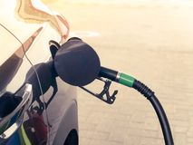 Refueling car on a petrol station. Concept of a fuel price change stock photo