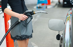 Refueling gas in petrol station Stock Photo
