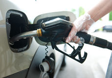 Refueling gas in petrol station Royalty Free Stock Photography