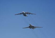 Refueling military aircraft. In the air Royalty Free Stock Images