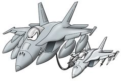 Refueling military jet giving fuel to a fighter jet cartoon graphic. Fun military jet aircraft cartoon characters, featuring a refueling jet giving fuel to a royalty free illustration