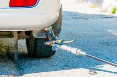 Refueling vehicle with gas propane stock image