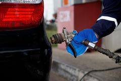Refueling vehicle gaseous fuel. Stock Photo