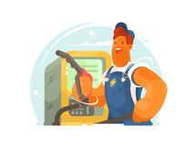 Refueller in working form. And cap with hose in hand. Vector illustration Stock Photography