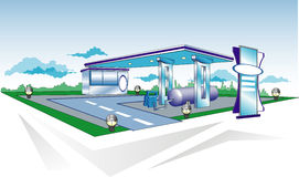 Refuelling. Model of filling station for cars, templates, illustration Stock Photography