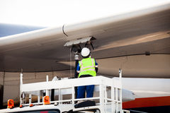 Refuelling the aircraft Stock Photo