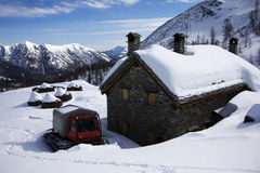 Refuge on the alps in winter Royalty Free Stock Images