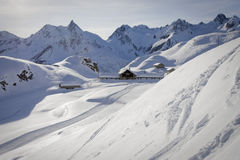 Refuge on the alps in winter Stock Photo
