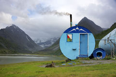 Refuge in  Altai Mountains, Siberia, july 2016. Refuge in  Altai Mountains, near Akkem Lake, Russian Federation Stock Photography