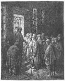 Refuge applying for admittance. Picture from Gustave Dore's London: a Pilgrimage illustrated book published in 1873, London - UK Royalty Free Stock Image