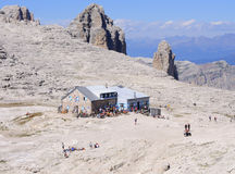 Refuge boè in group sella dolomites trentino Italy europe Royalty Free Stock Images