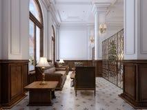 Refuge de luxe dans un hôtel cinq étoiles avec la fourrure en bois massive illustration libre de droits