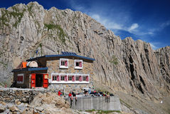 Refuge des Sarradets in the cirque de Gavarnie. Royalty Free Stock Images