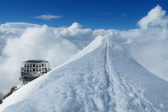 Refuge du Guter on Montblanc hiking route Stock Photography