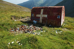 Refuge in Fagaras mountains, Romania. Refuge and garbage in Fagaras mountains, Romania Stock Image