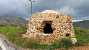 Refuge. Mountain refuge or bus station in Crete Royalty Free Stock Image