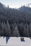 Refuge in mountain with forest on winter Stock Photos