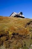 Refuge on mountain peak in romania stock photos