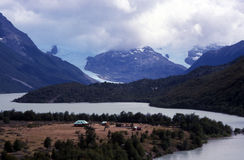 Refuge in the mountains. Near the river in Patagonia Royalty Free Stock Photo